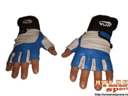 Plavo - Bele rukavice za teretanu od neoprena i eko kože sa bandažerom - proizvođač BMA
