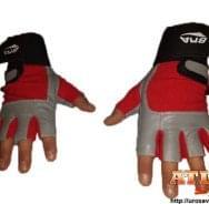 Sivo - Crvene rukavice za teretanu od neoprena i eko kože sa elastičnim bandažerom - proizvođač BMA
