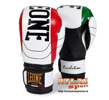 boks rukavice revolution - proizvođač Leone - crno bele u temi italijanske zastave