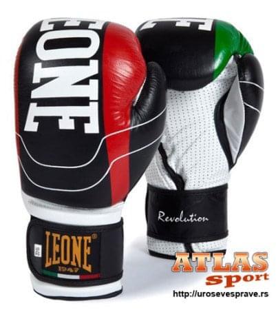 rukavice za boks Revolutione - proizvođač Leone - crno - bele - crvene - zelene