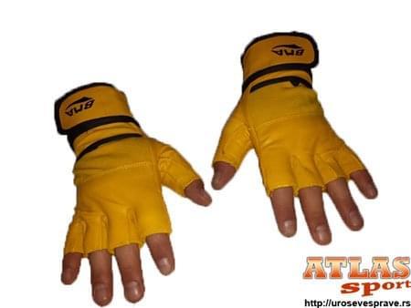 Žute rukavice za vežbanje od neoprena i eko kože sa elastičnim bandažerom - proizvođač BMA