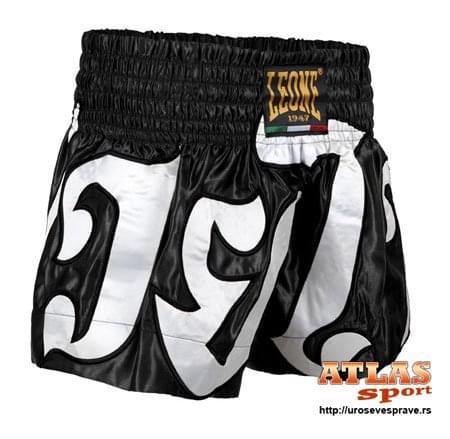 Šorc za tai boks - crno beli - svila - Leone Rules 1947